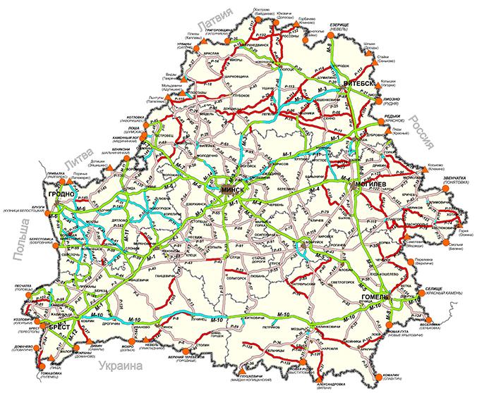 Карта-схема несущей способности дорог Беларуси в весенний период